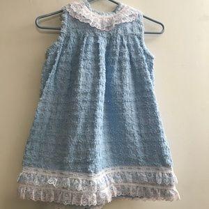 Blue Window Pane Chenille Dress Jumper Girl Size 4